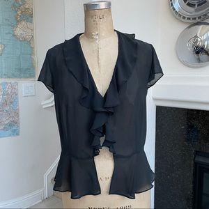 Victoria's Secret top sheer black ruffle large